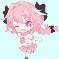 alternate_outfit astolfo blushing chibi kuro_no_rider rider_of_black school_girl_outfit smiling winking // 512x512 // 133.7KB